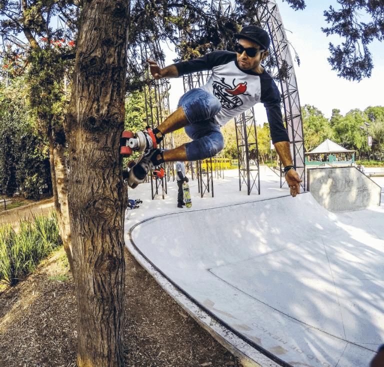 roller skater in skatepark
