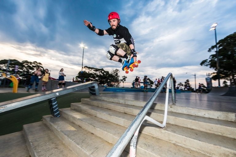 roller skater jumps stairs