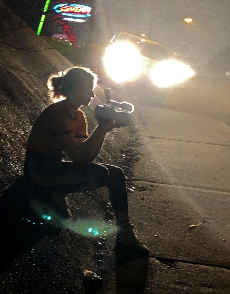 Karli films skate scene at night
